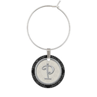 Marque-verres Initiale argentée élégante P de monogramme