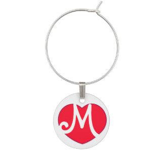 Marque-verres Initiale du coeur M