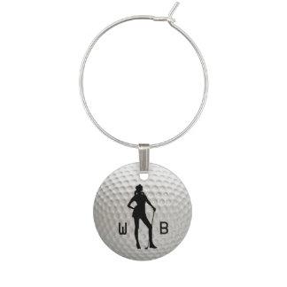 Marque-verres Madame Golf Silver Wine Tag de monogramme