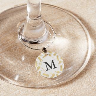 Marque-verres Monogramme étincelant d'ananas d'or