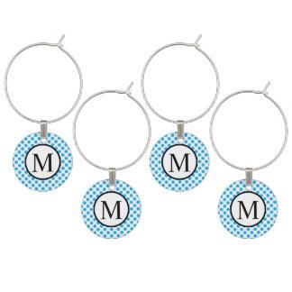 Marque-verres Monogramme simple avec le pois bleu