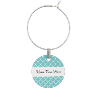 Marque-verres Motif blanc turquoise de Quatrefoil de Marocain