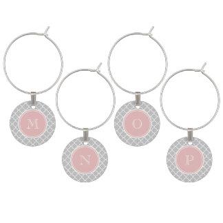 Marque-verres Motif gris de Quatrefoil, monogramme rose