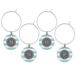 Marque-verres Rayures blanches bleues motif, monogramme de