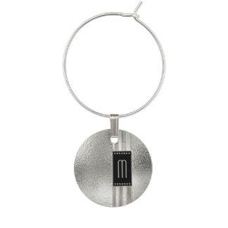 Marque-verres Rayures en métal sur le monogramme en verre ID443