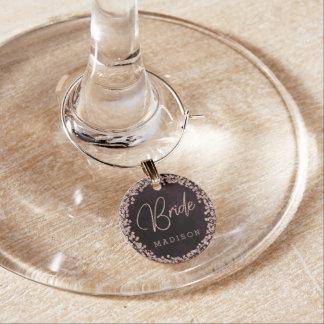 Marque-verres Vin de Bourgogne et monogramme rose de jeune