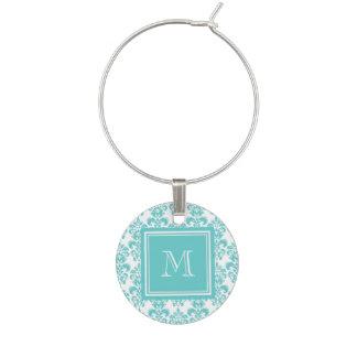 Marque-verres Votre monogramme, motif turquoise 2 de damassé