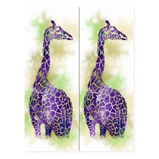 Marqueurs de livre de girafe d'aquarelle carte postale