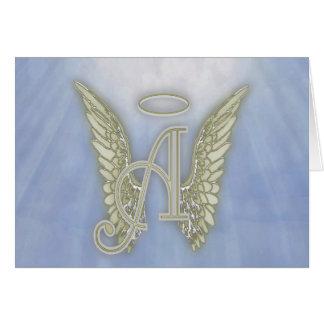 Marquez avec des lettres un monogramme d'ange carte de vœux
