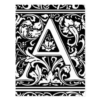 Marquez avec des lettres une initiale médiévale de carte postale