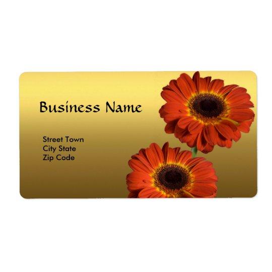 Marquez la fleur élégante d'orange d'or d'affaires étiquette d'expédition