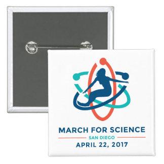 Mars pour la Science : San Diego - bouton de carré Badge