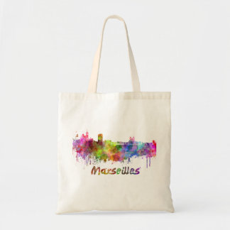 Marseille skyline in watercolor sac