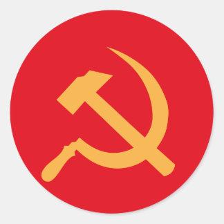 marteau et faucille de l'URSS de cccp Autocollants Ronds