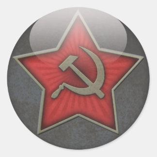 Marteau et faucille soviétiques d'étoile sticker rond