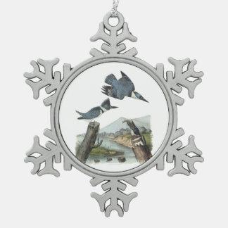 Martin-pêcheur ceinturé par Audubon Ornement Flocon De Neige Pewter