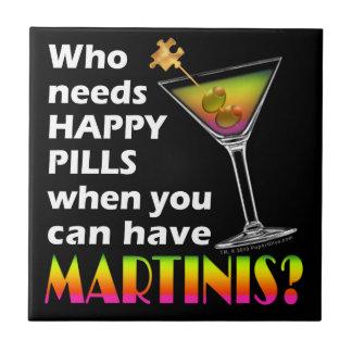 Martini contre la tuile heureuse de caboteur de pi petit carreau carré