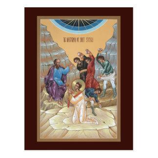 Martyre de carte de prière de St Stephen Carte Postale