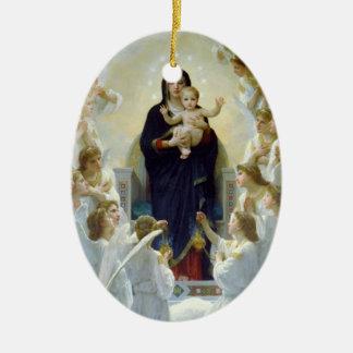 Mary avec des anges - Regina Angelorum Ornement Ovale En Céramique