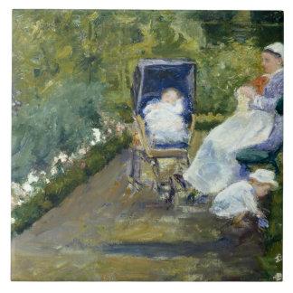 Mary Cassatt - enfants dans un jardin Grand Carreau Carré