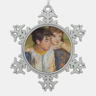 Mary Cassatt : Les deux soeurs Ornement Flocon De Neige Pewter