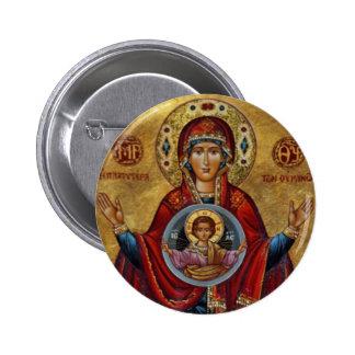 Mary du 15ème siècle iconique avec l'enfant du Chr Pin's