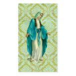 Mary sur un motif vert et bleu vintage de damassé cartes de visite professionnelles