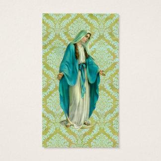 Mary sur un motif vert et bleu vintage de damassé cartes de visite