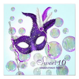 Mascarade bleue turquoise de sweet sixteen de carton d'invitation  13,33 cm