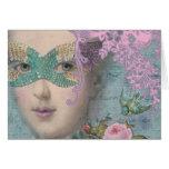 Mascarade de Marie Antoinette de mardi gras Cartes De Vœux