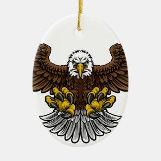 Mascotte chauve d'Eagle d'Américain Ornement Ovale En Céramique