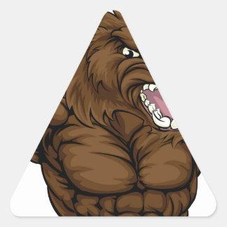 Mascotte de balénoptère de verrat sticker triangulaire