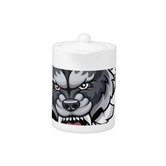 Mascotte de bowling de loup cassant l'arrière -