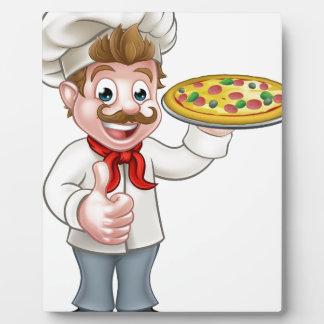 Mascotte de caractère de chef de pizza de bande impression sur plaque