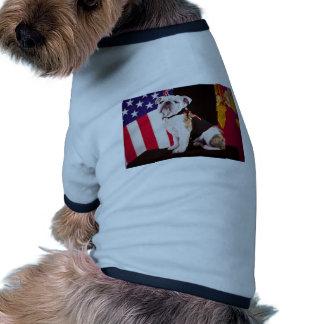 mascotte de fonctionnaire de marine de bouledogue t-shirt ringer pour chien