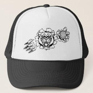 Mascotte de golf de panthère noire cassant casquette