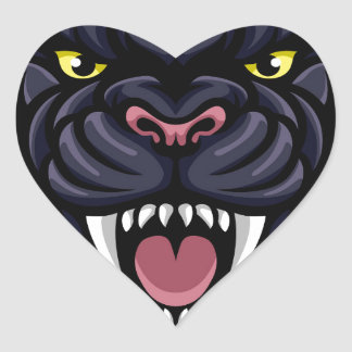 Mascotte de panthère noire sticker cœur