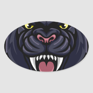 Mascotte de panthère noire sticker ovale