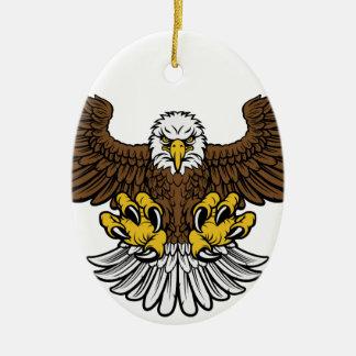 Mascotte d'Eagle chauve Ornement Ovale En Céramique