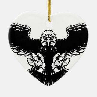 Mascotte féroce d'Eagle Ornement Cœur En Céramique
