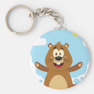 Mascotte heureuse de bande dessinée de Marmot Porte-clés