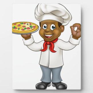 Mascotte noire de bande dessinée de chef de pizza plaques d'affichage