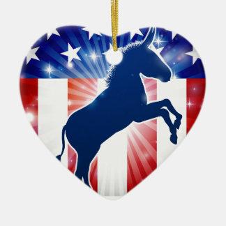 Mascotte politique d'âne de Démocrate Ornement Cœur En Céramique