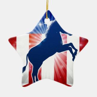 Mascotte politique d'âne de Démocrate Ornement Étoile En Céramique