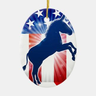 Mascotte politique d'âne de Démocrate Ornement Ovale En Céramique