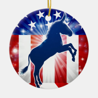 Mascotte politique d'âne de Démocrate Ornement Rond En Céramique