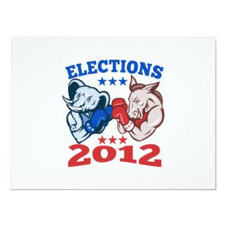 Mascotte républicaine 2012 d'éléphant d'âne de carton d'invitation  16,51 cm x 22,22 cm