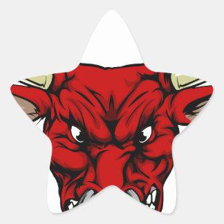 Mascotte rouge fâchée de taureau sticker étoile