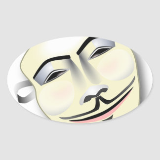 Masque anonyme sticker ovale