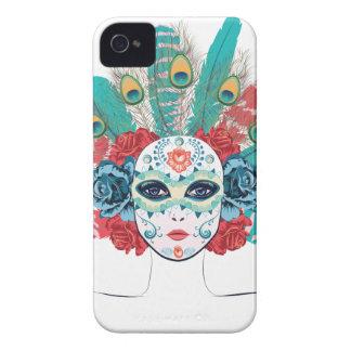 Masque avec des roses et des plumes coque Case-Mate iPhone 4
